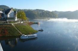 Saalburg Schiffsanleger bei Niedrigwasser